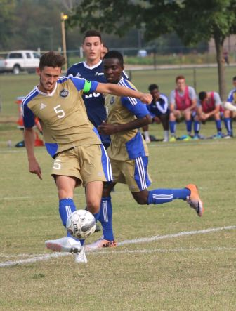 ECC freshman defender Darren Hamilton controls the ball at midfield during a match against the St. Louis Community College Archers Tuesday, September 29