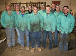 Nine people recently completed the Introduction to MIG Welding class offered at Rolla Technical Institute through a grant program administered by East Central College.  Shown, front row, from left, are:  Danny Wools, Bill Lloyd, Devin Woodall, Cody Leathers and Jason Blanc.  Second row, from left, are: Shelly Steiger, Logan Hetrick, Steve Campbell and Gene Jesteadt. Back row, Cord Jenkins, RTI instructor.