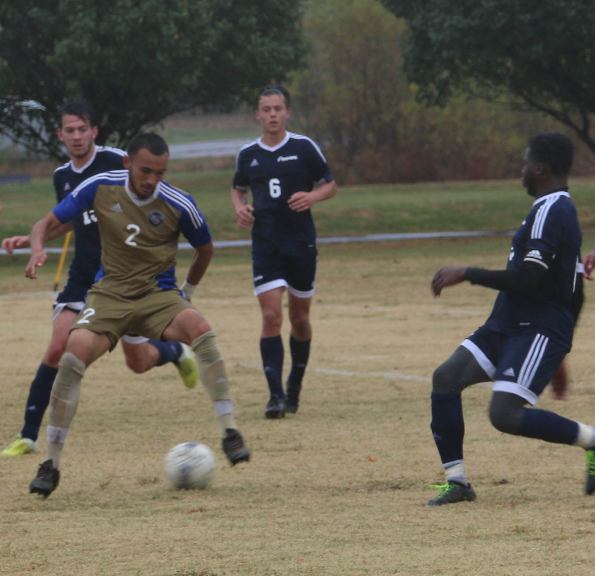 ECC's Joe Drake scored the first goal in the Region 16 semi-final match against St. Louis CC played October 27 at East Central.